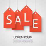 Four large orange tags with the word sale. Vector Royalty Free Stock Image