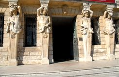 Four large statues on either side of the entrance of the Villa Pisani at Stra which is a town in the province of Venice in the Ven Stock Photos