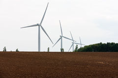 Four large wind turbines. Royalty Free Stock Photography
