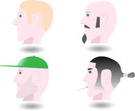 Four lateral avatar of man. Lateral view of few kind of worker Royalty Free Stock Images
