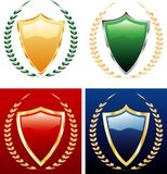 Four laurels. Vector colorful shields with laurels Stock Photography