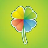 Four-leaf clover. Multicolored four-leaf clover - illustration Stock Images