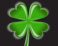 Four-leaf clover. Shiny four-leaf clover on a black background Royalty Free Stock Image
