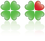 Four leaf clover. And a heart shape royalty free illustration