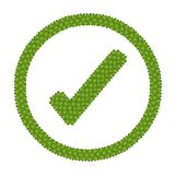 Four Leaf Clover of Check Mark Icon in Circle Frame Royalty Free Stock Images