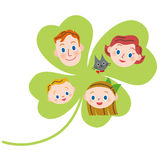 Four-leaf clover and close family Stock Photo