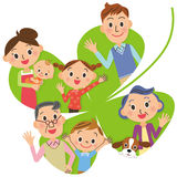 Four-leaf clover and close Sansei family Stock Photo