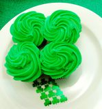 Four Leaf Clover Cupcake Display Royalty Free Stock Photography