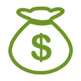 Four Leaf Clover of Dollar Sign in Money Bag Icon Stock Photos