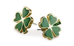 Four-leaf clover earrings Stock Image