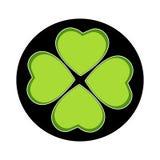 Four leaf clover emblem on black circle royalty free stock photos