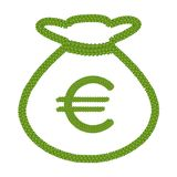 Four Leaf Clover of Euro Sign in Money Bag Icon Stock Images