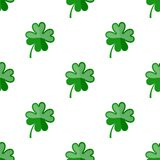 Four Leaf Clover Flat Icon Seamless Pattern Stock Photos