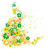 Four-leaf clover with flourish. Abstract flora compothition with clover and circles Stock Image