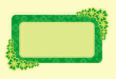 Four-leaf clover frame. Green floral frame for Patrick's Day Stock Photo