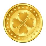 Four-leaf clover gold coin with stars. Saint Patrick`s day. Irish. Lucky. Vector illustration isolated on white background. Royalty Free Stock Photography