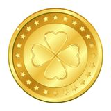 Four-leaf clover gold coin with stars. Saint Patrick`s day. Irish. Lucky. Vector illustration isolated on white background Royalty Free Stock Photo