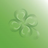 Four Leaf Clover. Good luck from the heart for Valentine Royalty Free Stock Photos