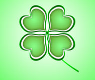 Four leaf clover in green made of hearts. Royalty Free Stock Photo