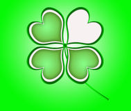 Four leaf clover in green made of hearts. Stock Image