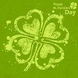 Four leaf clover grunge on green. Illustration for St. Patricks day Stock Photos