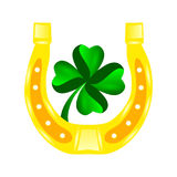 Four leaf clover in horseshoe. An illustration of a four-leaf clover inside of a golden horseshoe Royalty Free Stock Image