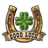 Four leaf clover, horseshoe, ribbon with text good luck. Vintage vector engraving Royalty Free Stock Photography