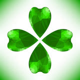 Four- leaf clover. Irish shamrock St Patricks Day symbol. Useful for your design. Green glass clover isolated on white background.Stylish abstract St vector illustration