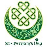 Four-leaf clover. Irish symbol in the Celtic style for the feast of St. Patrick. Isolated on white, vector illustration Royalty Free Stock Photos