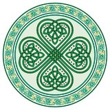 Four-leaf clover. Irish symbol in the Celtic style for the feast of St. Patrick. Isolated on white, vector illustration Stock Photos