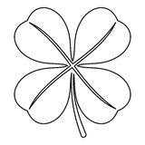 Four Leaf Clover Leaf Icon, Outline Style Royalty Free Stock Photos
