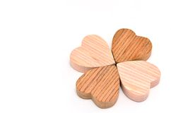 Four-leaf clover made of wood Royalty Free Stock Photos