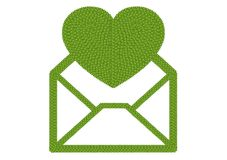 Four Leaf Clover of Open Envelope Icon with Big Heart Stock Images