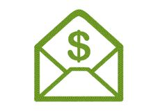 Four Leaf Clover of Open Envelope Icon with Dollar Sign Stock Photography