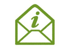 Four Leaf Clover of Open Envelope Icon with Infomation Sign Stock Photos