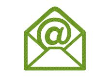 Four Leaf Clover of Open Envelope Icon with At Sign. Ecology Concept, Fresh Green Four Leaf Clover Forming Open of Envelope Icon with At Symbol Isolated on White stock illustration