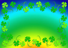 Four leaf clover and rainbow. Green four leaf clovers and the rainbow Royalty Free Stock Image