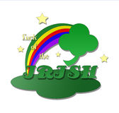 Four Leaf Clover with Rainbow Stock Photo
