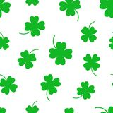 Four leaf clover seamless pattern background. Business flat vect Stock Photo