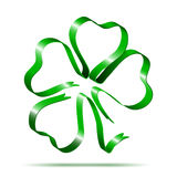 Four-leaf clover shape from ribbon Stock Photos
