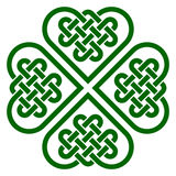 Four-leaf clover shaped knot made of Celtic heart shape knots. Vector illustration, green silhouette isolated on white background Stock Photo