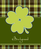 Four leaf clover textile label Stock Photo