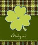 Four leaf clover textile label. Background Stock Photo