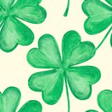 Four leaf clover. Vector four-leaf clover. Seamless pattern watercolor illustration Stock Image