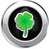 Four leaf clover web button. Shiny web button for St. Patrick's Day Stock Photo
