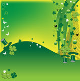 Four leaf clovers. Abstract colorful background with green four leaf clovers, butterfly shapes and green hats for St. Patrick's Day vector illustration