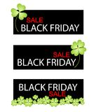 Four Leaf Clovers on Black Friday Sale Banner Stock Photography