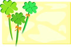 Four Leaf Clovers with Yellow Background Royalty Free Stock Images