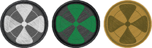 Four-leaf combat patches. Variations of coloured four-leaf textile combat patches stock illustration