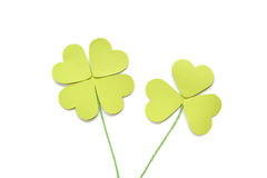 Four leaf and three leaf clover paper cut on white background Royalty Free Stock Image